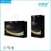 Buy cheap Personalized Black Glossy Finish Paper Shopping Bags With Handles , Logo Printed from wholesalers