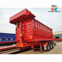 China Heavy Duty 60 Tons 3 Axles With Automatic Tarpaulin Dumping Truck Semi Trailer Used To Delivery Sands Or Coal on sale