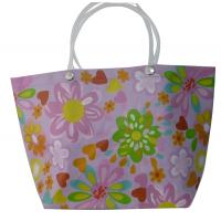 Wholesale Eco-friendly Recyclable Flowers Purple PP Woven Shopping Bag With PVC Handle from china suppliers