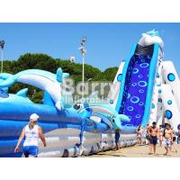 Wholesale Blue Animal Giant Dolphin Inflatable Water Slide Adult Size Huge Inflatable Slides from china suppliers