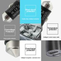 Wholesale Multifunctional Dual 1.0A and 2.1A smart car usb charger with safety hammer function from china suppliers