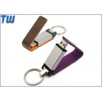 China Leather cover 32GB Pen Drives USB Disk Long Stick Logo Printed for sale