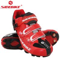 China Red Mens SPD Mountain Bike Shoes Geometry Design Body High Pressure Resistance on sale