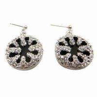 Wholesale Rhinestone Stud Earrings in Snowflake Design, Suitable for Parties/Anniversaries from china suppliers