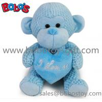 China Special Valentines Day Gift Stuffed Blue Monkey Plush Toy With Blue Heart Pillow on sale