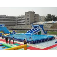 Wholesale Large Rectangular Metal Frame Pool , Mobile Water Slide Swimming Pool With Pool Float from china suppliers