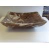 Dark Emperador Marble Square Wash Basin Stone Vessel Sink for sale