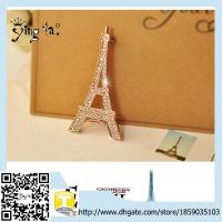 China Wholesale Fashion Custom Classic  Crystal Rhinestone Eiffel Tower Crystal Brooch on sale
