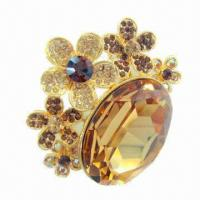 Wholesale Rhinestones Brooch, Made of Zinc-alloy from china suppliers