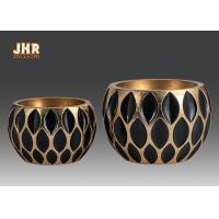 Wholesale Decorative Geometric Pattern Fiberglass Flower Pots With Gold Leafed Finish from china suppliers