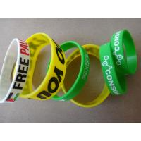 Yellow White Green Custom Wristbands Bracelets / Personalized Silicone Bracelets for sale