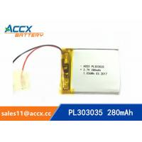 Wholesale 303035pl 3.7V polymer battery with 280mAh rechargeable cell with PCB protection from china suppliers