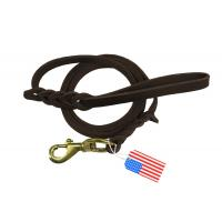 China Brown Braided Leather Dog Leash Lead Handmade For Hunting Training Dogs on sale