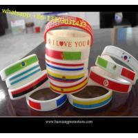 Custom embossed/imprinted/printed logo Silicone Wristband / rubber bracelet with flag for sale