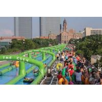 Wholesale 3 Lane Green Backyard Inflatable Water Slides Fire Resistant SCT from china suppliers