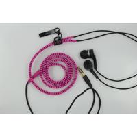 Wholesale In-ear Zipper Wired Earphones Pink 3.5mm with Microphone Volume Control from china suppliers