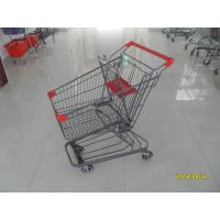 Wholesale Grey Powder Coating 80L Supermarket Shopping Carts With 4 Inch PU Casters from china suppliers