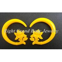Buy cheap Female Spiral Ear Tapers / Yellow Flower Carved Ear Piercings Spiral Taper from wholesalers