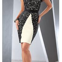 China 2015 wholesale polyester spandex lace overlay ivory  black dress China factory on sale