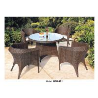 China PE rattan round wicker coffee table with glass top on sale
