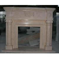 Outside and inside Yellow- Pink Marble Fireplace mental, China Marble Fireplace for sale