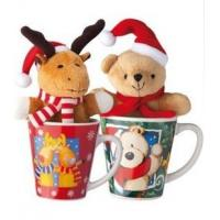 Wholesale Promotional Christmas Ceramic Pottery mug with toy,red or green from china suppliers