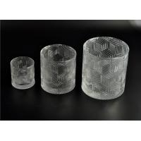 Quality Contemporary Glass Candle Holder Transparent With Embossed Pattern for sale