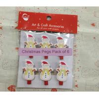 Wholesale Novelty Snowman Christmas gift wood Pegs Pack of 6 from china suppliers