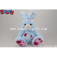China 9.5 Cuddle Blue Rabbit Stuffed Toy With Flower Fabric Patch on sale
