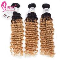 Thick And Full End Blonde Ombre Hair Extensions / Deep Wavy Curly Long Hair Weave for sale