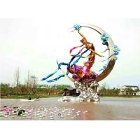 China Public Art Large Outdoor Garden Statues Stainless Steel Flying Fairy Painted for sale