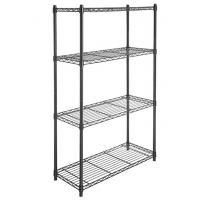 Wholesale 4 Tier Carbon Steel Adjustable Mobile Metal Display Racks , Black Powder Coating Easy Assembly  Metal Shelf with Casters from china suppliers