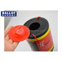 Quality Hand Held Plastic Charity Boxes Polypropylene Material With Red Lid Security Seal for sale