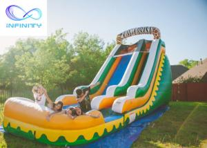 Wholesale Commercial High Quality Giant Adults N Kids Yellow Inflatable Jungle Water Slides With Pool from china suppliers