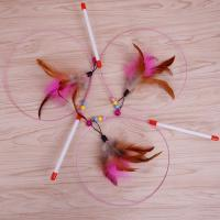 Buy cheap Popular Handmade Interactive Cat Toys Soft Teaser Stick Toy With Feather from wholesalers
