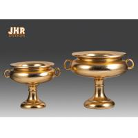 Wholesale Footed Gold Leaf Fiberglass Wedding Centerpiece Table Vases / Flower Bowls 2 Size from china suppliers