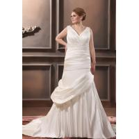Wholesale Plus Size Mermaid V Neck Wedding Dress Applique Chapel Train Wedding Gown from china suppliers