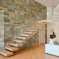 Wholesale Frameless Glass Railing Timber Steps Build Floating Staircase from china suppliers