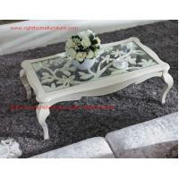 Wholesale Neoclassical style Coffee table in smart flower craft with tempered glass top and Teatable set with wood drawers from china suppliers