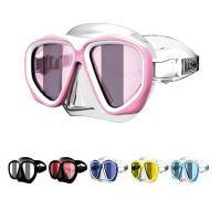 Wholesale Pink Tempered Lens Super Clear Silicone Diving Mask For Adult , Wide Version from china suppliers
