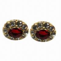 Wholesale Fashionable Stud Earrings, Red Clear Rhinestone Decorated from china suppliers