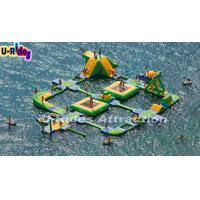 China Green , Yellow Beach Inflatable Floating Water Park Rentals For Adults on sale