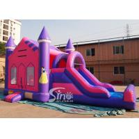 4in1 pink kids party inflatable princess bounce house with slide from Guangzhou Inflatable factory for sale