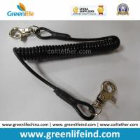 Retracted Black Coil Lanyard with Customized Attachments for sale