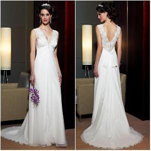 China Deep Sexy V-Neck Low Back Good Satin Wedding Dress on sale