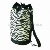 Quality Duffle Bag, Made of 12oz Printed Canvas Cotton, Comes in Zebra Pattern for sale