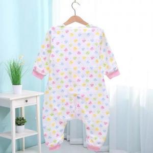 Spring Summer Muslin Baby Pajamas , Organic Newborn Pajamas Cute Printed