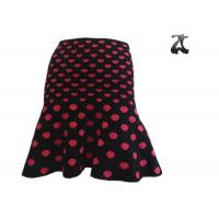 Wholesale Pull on Style Womens Knit Skirts High Waist , Knit Ruffle Skirt Jacquard Pattern Pink Heart from china suppliers
