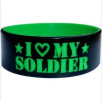 Recycled Big Black Silicone Wristband Bracelet  , Silicone Wristbands With A Message for sale