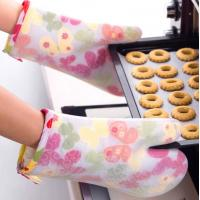 China Transparent Silicone Cooking Gloves , Silicone Heat Gloves Butterfly Pattern on sale